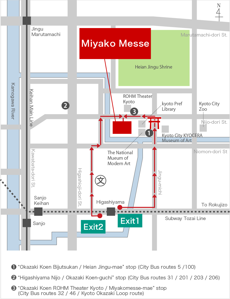 Kyoto Subway Map Vector.Location Miyako Messe